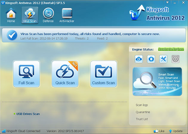 Antivirus Gratis 2013 - Kingsoft Antivirus - Scaricare Download Miglior Antivirus Free 2013 per Windows