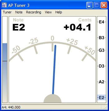 AP Tuner - programma per accordare la chitarra utilizzando un microfono